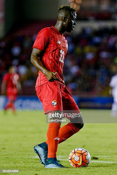 Abdiel Arroyo of Panama drives the ball during the match between Cuba and Panama as part of the Copa America Centenario Qualifiers at Rommel...