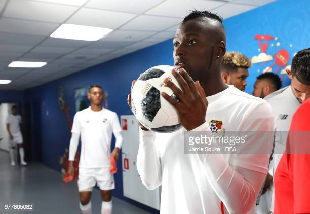 Abdiel Arroyo of Panama holds the ball inside the tunnel prior to the 2018 FIFA World Cup Russia group G match between Belgium and Panama at Fisht...
