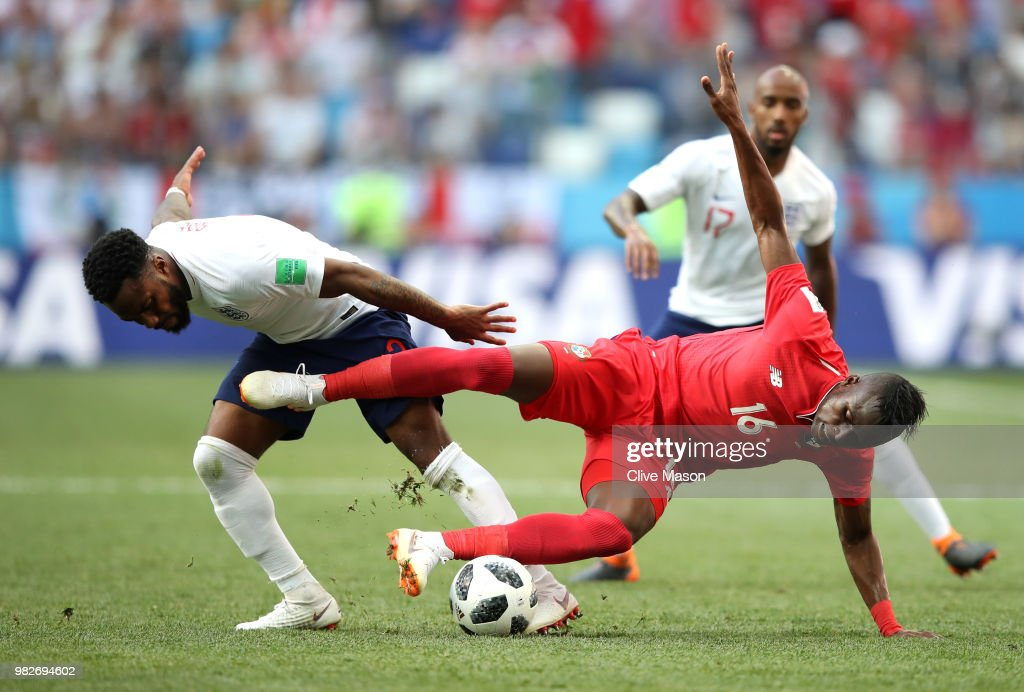 Abdiel Arroyo of Panama is tackled by Danny Rose of England during the 2018 FIFA World Cup Russia group G match between England and Panama at Nizhny Novgorod Stadium on June 24, 2018 in Nizhny Novgorod, Russia.