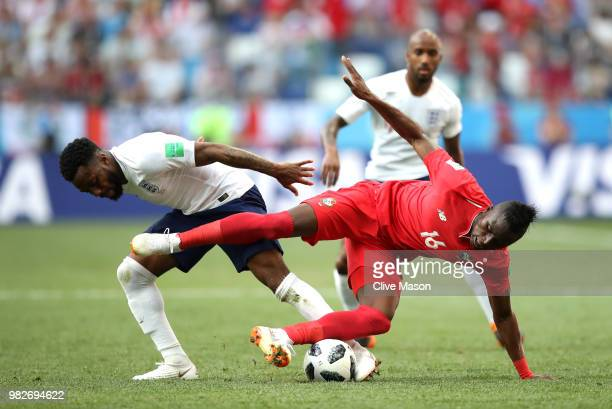 Abdiel Arroyo of Panama is tackled by Danny Rose of England during the 2018 FIFA World Cup Russia group G match between England and Panama at Nizhny...