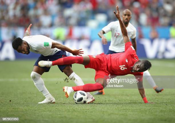 Abdiel Arroyo of Panama is tackled by Danny Rose of England during the 2018 FIFA World Cup Russia group G match between England and Panama at Nizhniy...