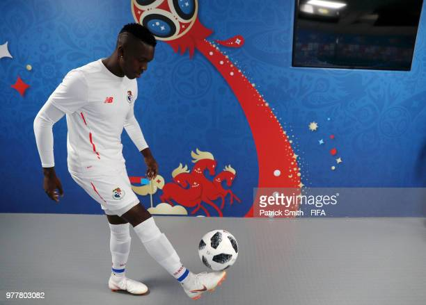 Abdiel Arroyo of Panama plays with the ball inside the tunnel prior to the 2018 FIFA World Cup Russia group G match between Belgium and Panama at...