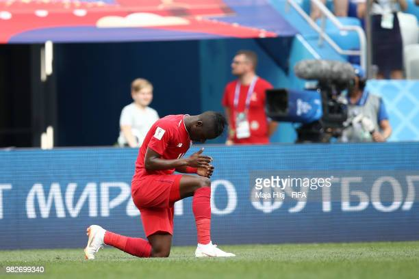 Abdiel Arroyo of Panama reacts following his sides defeat in the 2018 FIFA World Cup Russia group G match between England and Panama at Nizhny...