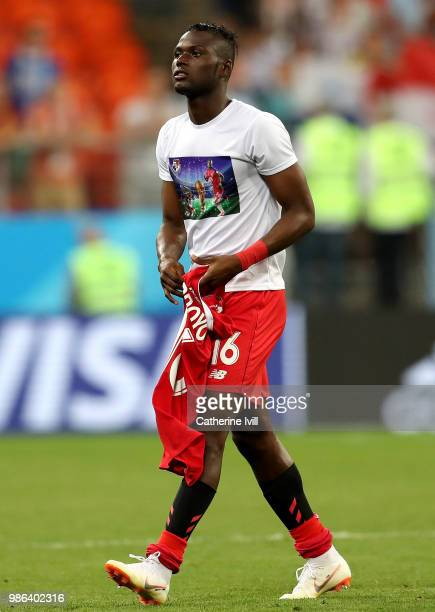 Abdiel Arroyo of Panama walks off the pitch following the 2018 FIFA World Cup Russia group G match between Panama and Tunisia at Mordovia Arena on...