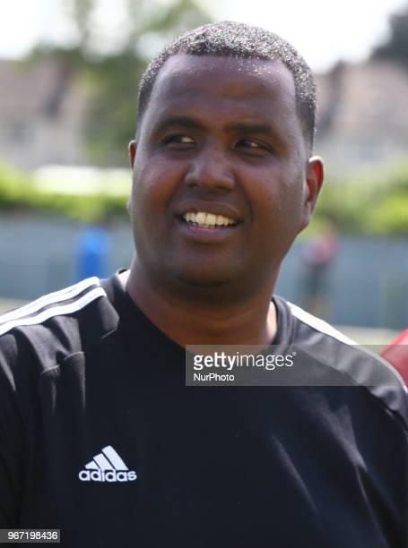 Abdikarim Farah Head Coach of Barrawa during Conifa Paddy Power World Football Cup 2018 Group A match between Barawa against Ellan Vannin at Coles...