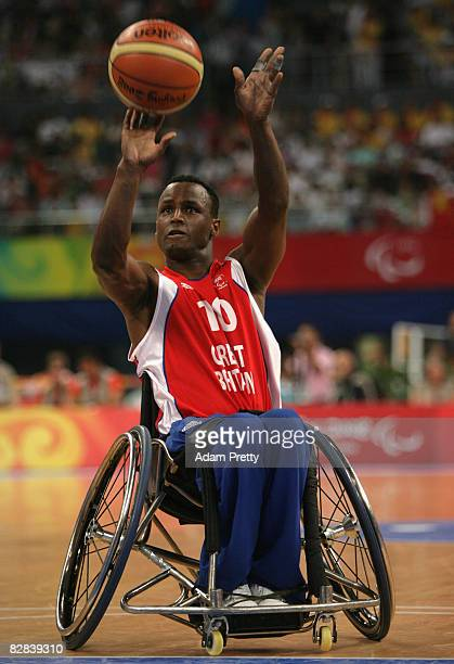 Abdillah Jama of Great Britain shoots during the Bronze Medal Wheelchair Basketball match between the United States and Great Britain at the National...