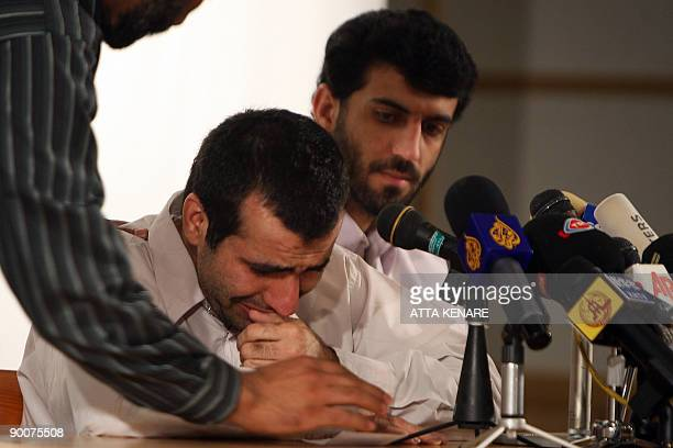 Abdolhamid Rigi top Sunni rebel for the shadowy Jundallah group gestures during a press conference in Iran�s restive southeastern city of Zahedan on...