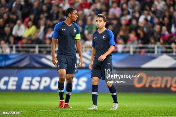 Abdou Diallo and Maxime Lopez of France during the Qualifying European Championship match between France and Slovenia at Stade Gaston Gerard on...