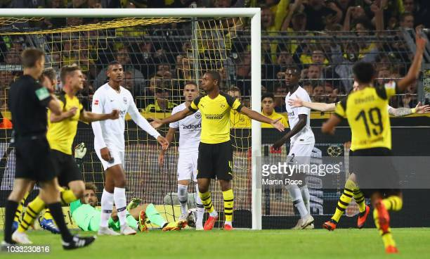 Abdou Diallo of Borussia Dortmund celebrates as he scores his team's first goal during the Bundesliga match between Borussia Dortmund and Eintracht...
