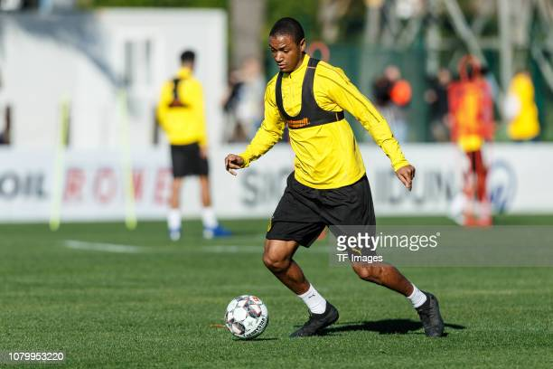 Abdou Diallo of Borussia Dortmund controls the ball during a training session as part of the Borussia Dortmund training camp on January 9 2019 in...