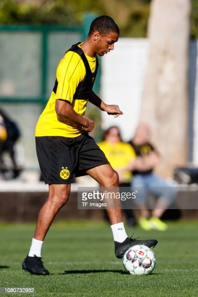 Abdou Diallo of Borussia Dortmund controls the ball during a training session as part of the Borussia Dortmund training camp on January 10 2019 in...