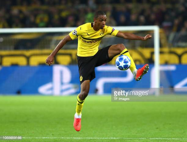 Abdou Diallo of Borussia Dortmund controls the ball during the Group A match of the UEFA Champions League between Borussia Dortmund and AS Monaco at...