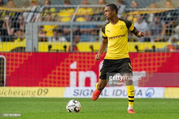 Abdou Diallo of Borussia Dortmund controls the ball during the Bundesliga match between Borussia Dortmund and FC Augsburg at Signal Iduna Park on...