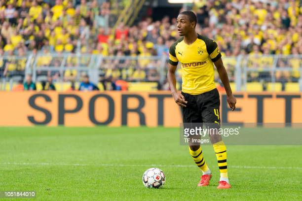 Abdou Diallo of Borussia Dortmund controls the ball during the Bundesliga match between Borussia Dortmund and FC Augsburg at Signal Iduna Park on...