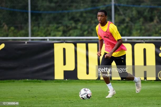 Abdou Diallo of Borussia Dortmund controls the ball during the Borussia Dortmund training camp on August 2 2018 in Bad Ragaz Switzerland