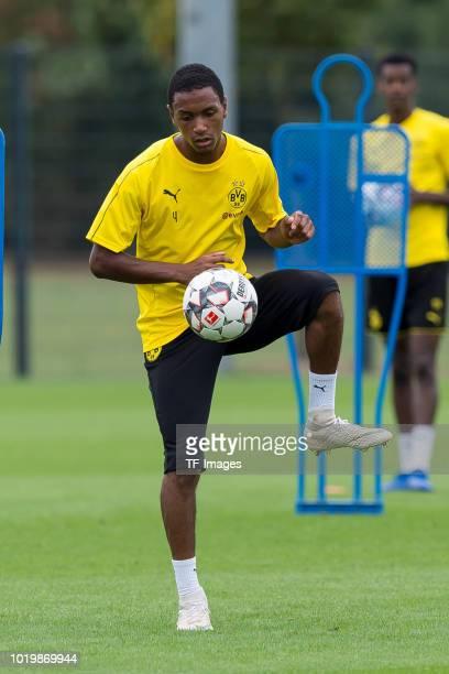 Abdou Diallo of Borussia Dortmund controls the ball during the Borussia Dortmund training session on August 15 2018 in Dortmund Germany