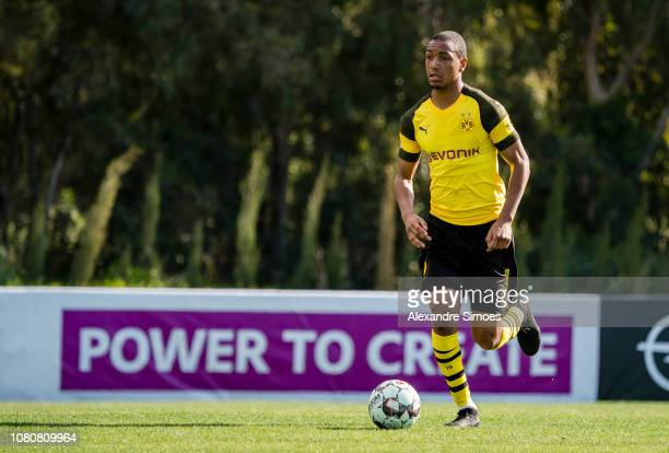 Abdou Diallo of Borussia Dortmund during a friendly match against Willem II Tilburg as part of the training camp on January 11 2019 in Marbella Spain