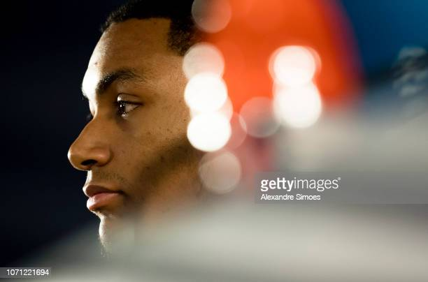 Abdou Diallo of Borussia Dortmund during the press conference prior to the UEFA Champions League Group A match between AS Monaco and Borussia...