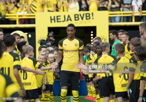 Abdou Diallo of Borussia Dortmund during the team presentation at the Signal Iduna Park on August 11 2018 in Dortmund Germany