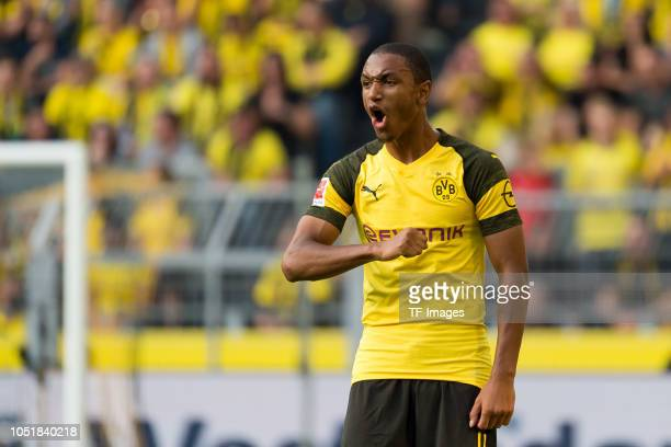 Abdou Diallo of Borussia Dortmund gestures during the Bundesliga match between Borussia Dortmund and FC Augsburg at Signal Iduna Park on October 6...