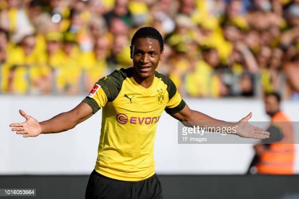 Abdou Diallo of Borussia Dortmund gestures during the friendly match between Borussia Dortmund and Lazio Rom on August 12 2018 in Essen Germany