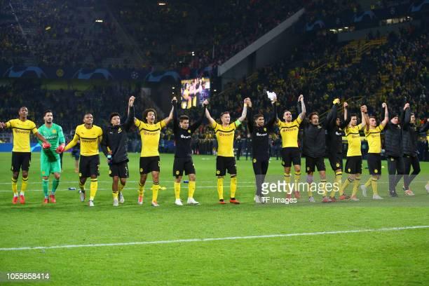 Abdou Diallo of Borussia Dortmund Goalkeeper Roman Buerki of Borussia Dortmund Manuel Akanji of Borussia Dortmund Jadon Malik Sancho of Borussia...