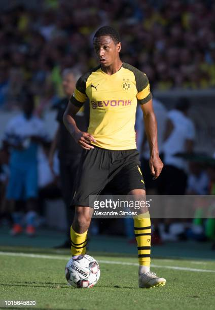 Abdou Diallo of Borussia Dortmund in action during a preseason friendly match against Lazio at the Stadion Essen on August 12 2018 in Essen Germany