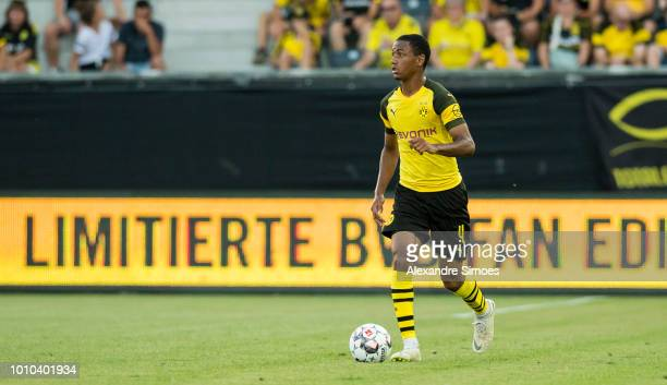 Abdou Diallo of Borussia Dortmund in action during a test match against Stade Rennes as part of the training camp on August 03 2018 in Bad Ragaz...
