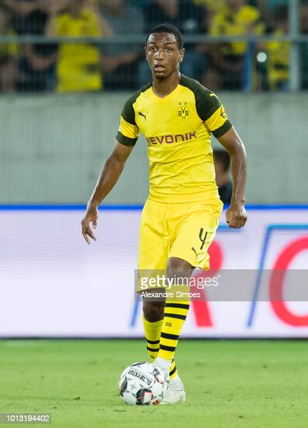 Abdou Diallo of Borussia Dortmund in action during a test match against SSC Napoli as part of the training camp on August 07 2018 in St Gallen...
