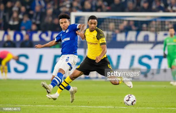 Abdou Diallo of Borussia Dortmund in action during the Bundesliga match between FC Schalke 04 and Borussia Dortmund at the Veltins Arena on December...
