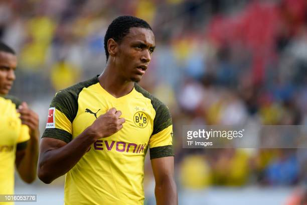 Abdou Diallo of Borussia Dortmund looks on during the friendly match between Borussia Dortmund and Lazio Rom on August 12 2018 in Essen Germany
