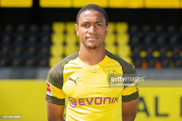 Abdou Diallo of Borussia Dortmund looks on during the team presentation at Training Ground Brackel on August 10 2018 in Dortmund Germany