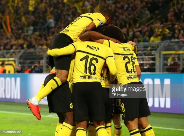 Abdou Diallo of Borussia Dortmund Manuel Akanji of Borussia Dortmund and Axel Witsel of Borussia Dortmund celebrate their team`s first goal during...