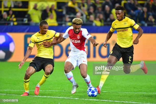 Abdou Diallo of Borussia Dortmund Moussa Sylla of Monaco and Dan Axel Zagadou of Borussia Dortmund during the UEFA Champions League match between...