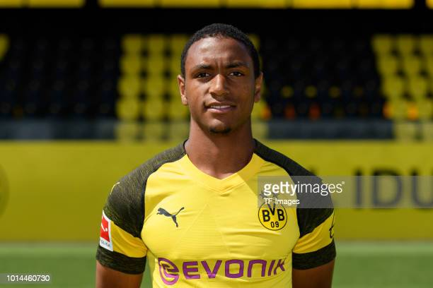 Abdou Diallo of Borussia Dortmund poses during the team presentation at BVB trainings center on August 10 2018 in Dortmund Germany