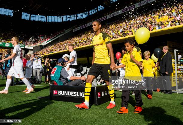 Abdou Diallo of Borussia Dortmund prior to the Bundesliga match between Borussia Dortmund and FC Augsburg at the Signal Iduna Park on October 06 2018...