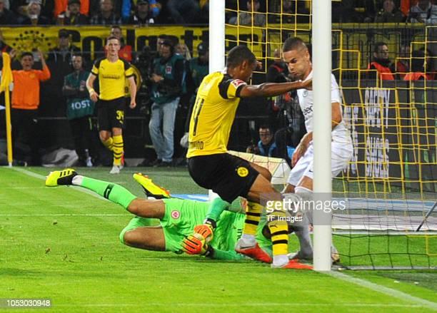 Abdou Diallo of Borussia Dortmund scores the team`s first goal during the Bundesliga match between Borussia Dortmund and Eintracht Frankfurt on...