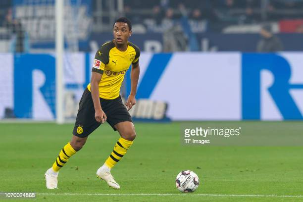 Abdou Diallo of Dortmund controls the ball during the Bundesliga match between FC Schalke 04 and Borussia Dortmund at the Veltins Arena on December...