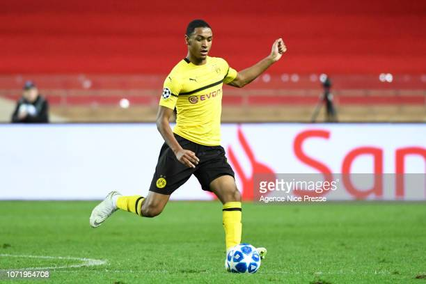 Abdou Diallo of Dortmund during the UEFA Champions League match between Monaco and Borussia Dortmund at Stade Louis II on December 11 2018 in Monaco...
