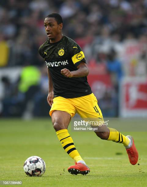 Abdou Diallo of Dortmund runs with the ball during the Bundesliga match between VfB Stuttgart and Borussia Dortmund at MercedesBenz Arena on October...