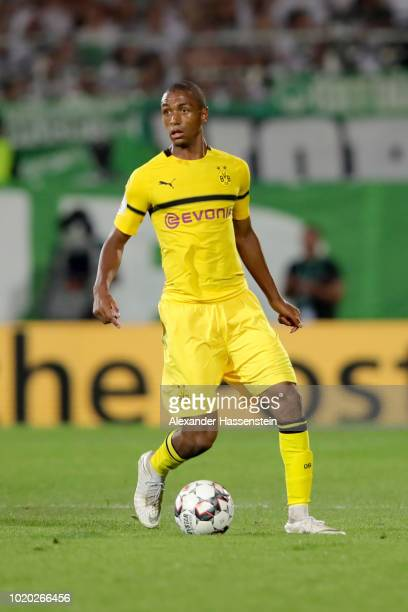 Abdou Diallo of Dortmund runs with the ball during the DFB Cup first round match between SpVgg Greuther Fuerth and BVB Borussia Dortmund at Sportpark...