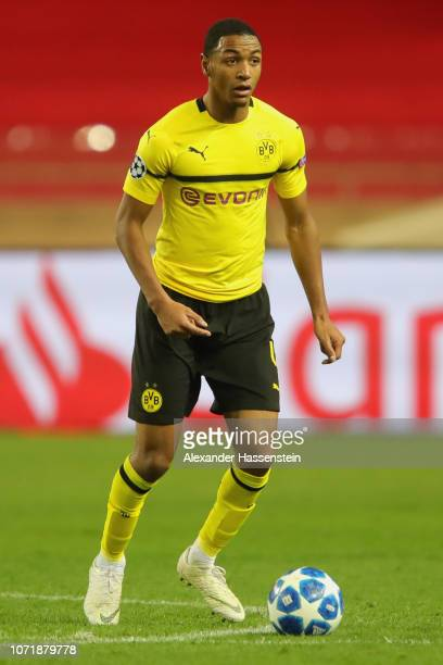 Abdou Diallo of Dortmund runs with the ball during the UEFA Champions League Group A match between AS Monaco and Borussia Dortmund at Stade Louis II...