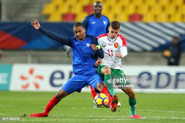 Abdou Diallo of France and Kiril Despodov of Bulgaria during the Under 21s Euro 2019 qualifying match between France U21 and Bulgaria U21 on November...