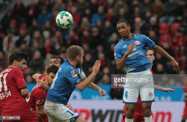 Abdou Diallo of Mainz and Kevin Volland of Leverkusen battle for the ball during the Bundesliga match between Bayer 04 Leverkusen and 1 FSV Mainz 05...