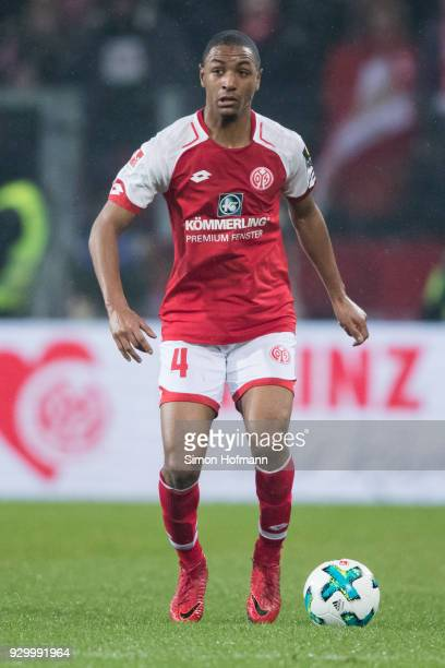 Abdou Diallo of Mainz controls the ball during the Bundesliga match between 1 FSV Mainz 05 and FC Schalke 04 at Opel Arena on March 9 2018 in Mainz...