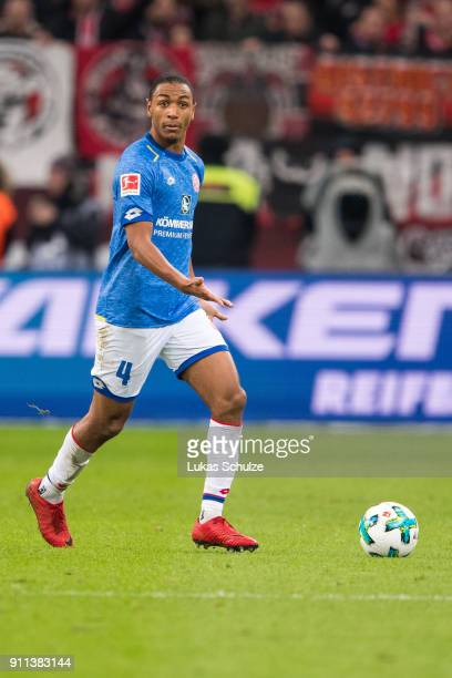 Abdou Diallo of Mainz in action during the Bundesliga match between Bayer 04 Leverkusen and 1 FSV Mainz 05 at BayArena on January 28 2018 in...