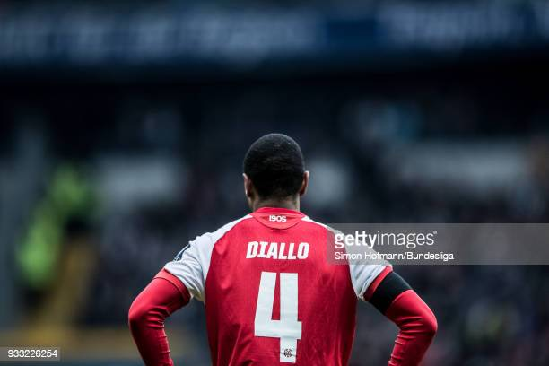 Abdou Diallo of Mainz is disappointed during the Bundesliga match between Eintracht Frankfurt and 1 FSV Mainz 05 at CommerzbankArena on March 17 2018...
