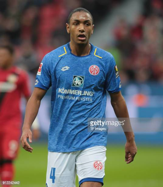 Abdou Diallo of Mainz looks on during the Bundesliga match between Bayer 04 Leverkusen and 1 FSV Mainz 05 at BayArena on January 28 2018 in...