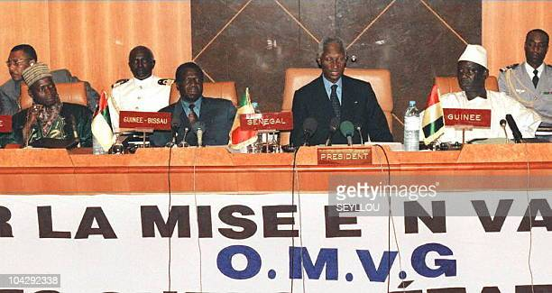 Abdou Diouf, president of Senegal, reads the opening statement of the 9th edition of the Organization for the Exploitation of the Gambia River...