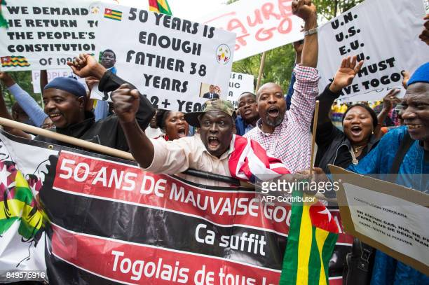 Abdou Razak of Togo demonstrates with others against President Faure Gnassingbé in Dag Hammarskjold Plaza outside the UN in New York on September19...